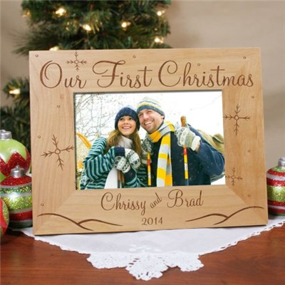 Personalized First Christmas Picture Frame for Couples