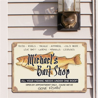 Personalized Fishing Bait Shop Metal Sign