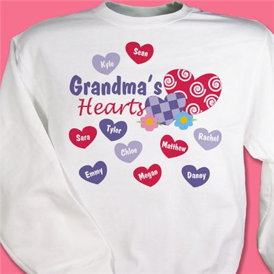 Personalized Grandma's Hearts Sweatshirt