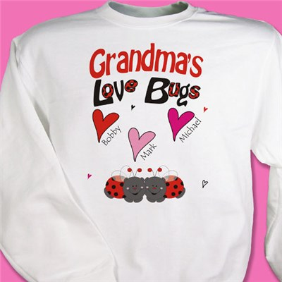 Personalized Grandma's Love Bugs Sweatshirt for Valentines Day