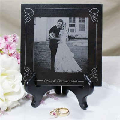 Personalized Laser Wedding Photo Marble Keepsake