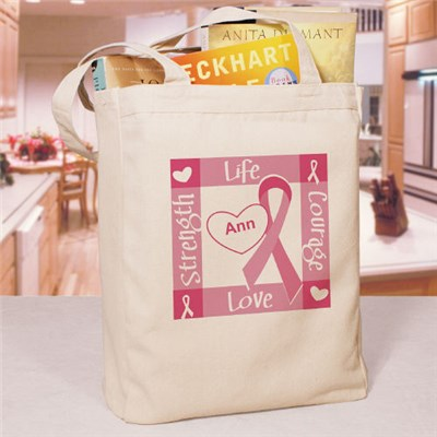 Personalized Ribbon of Heart Tote Bag