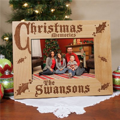 Engraved Christmas Family Picture Frame