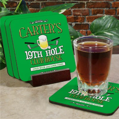 Personalized 19th Hole Bar Coaster Set
