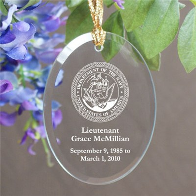Engraved Navy Memorial Keepsake Ornament