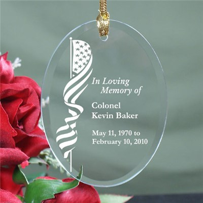 In Loving Memory Glass Ornaments for Military