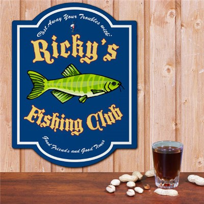 Personalized Fishing Club Wall Sign