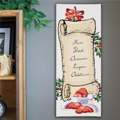 Personalized Santa List Wall Canvas