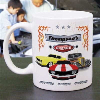 Personalized Muscle Car Coffee Mug for Dad, Grandpa, Uncle or Brother