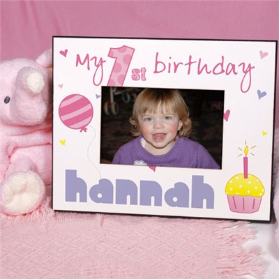 Personalized Baby Girls First Birthday Picture Frame