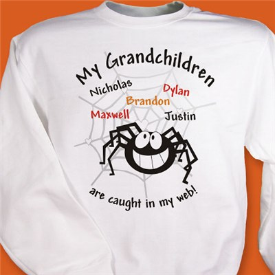 Personalized Spider Web Sweatshirt for Grandma, Mom or Aunt