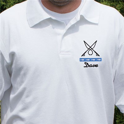 Embroidered Gone Fishing Polo Shirt