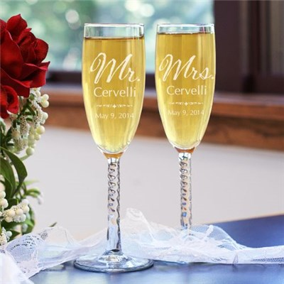 Personalized Wedding Couple Champagne Glasses