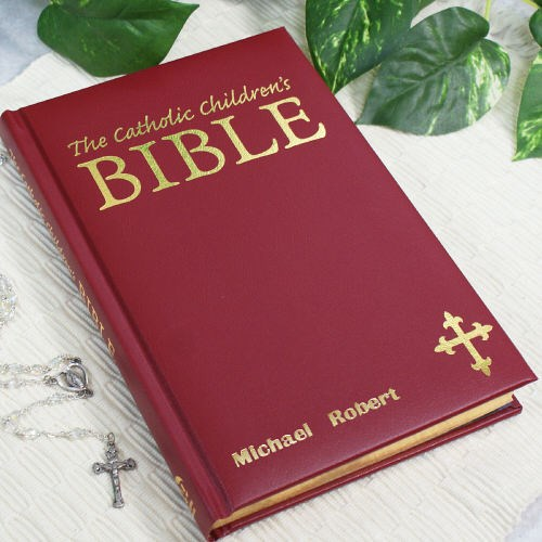 Personalized Maroon Children's Catholic Bible 65001