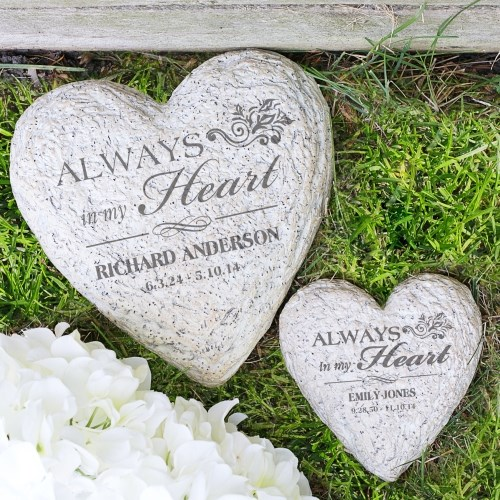 Engraved Memorial Heart Garden Stone L777791X