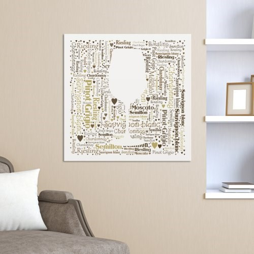 White Wine Word-Art Canvas