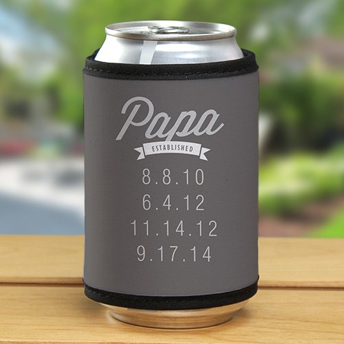 Personalized Dad Established Can Wrap Koozie 394519