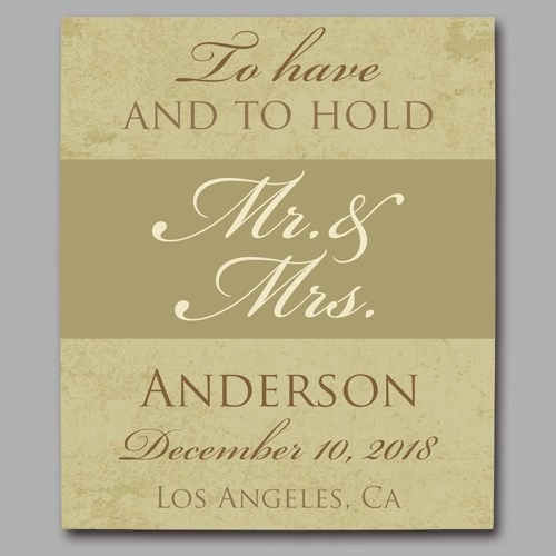 Personalized To Have And To Hold Wedding Canvas 9110433X
