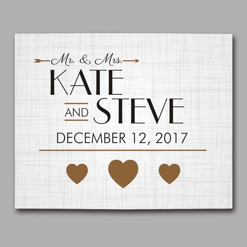 Personalized Golden Hearts Wedding Canvas 9110436X