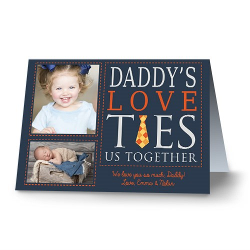 Personalized Dad's Love Ties Us Together Photo Card | Father's Day Photo Gifts