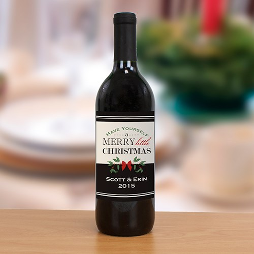 Personalized Merry Little Christmas Wine Bottle Label 1976611
