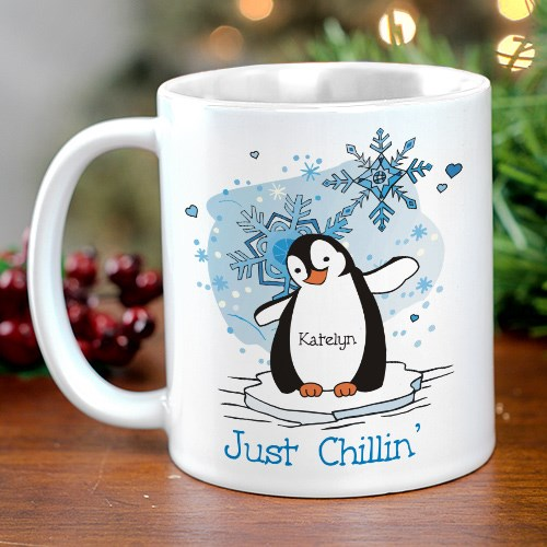 Just Chillin' Penguin Personalized Winter Coffee Mug