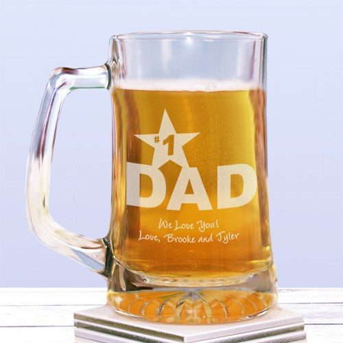 #1 Dad Sports Glass Mug | Bar Gifts For Dad