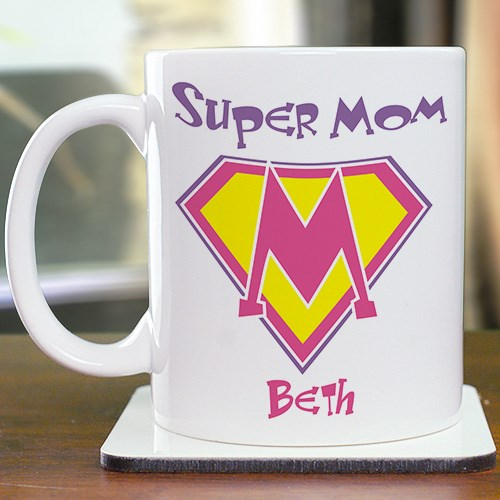 Personalized Super Mom Coffee Mug for Mothers Day