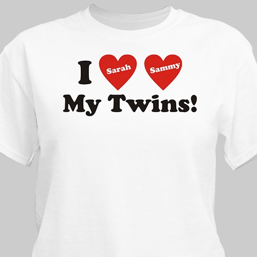 I Love My Twins Personalized T-Shirt