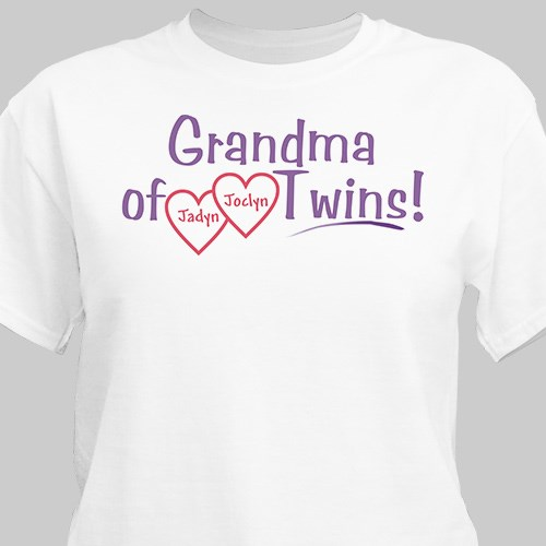 Grandmother of Twins Personalized T-shirt