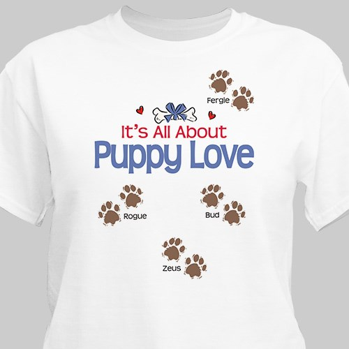 Personalized puppy love t shirt personalized pet t shirt for Custom pet t shirts