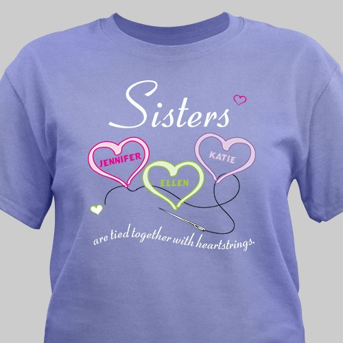 Personalized Sisters Heartstrings Violet T-Shirt 33633X