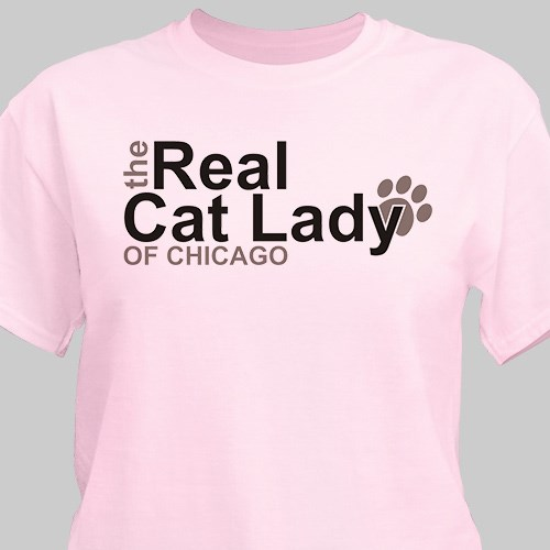Personalized The Real Cat Lady T-Shirt 37102X