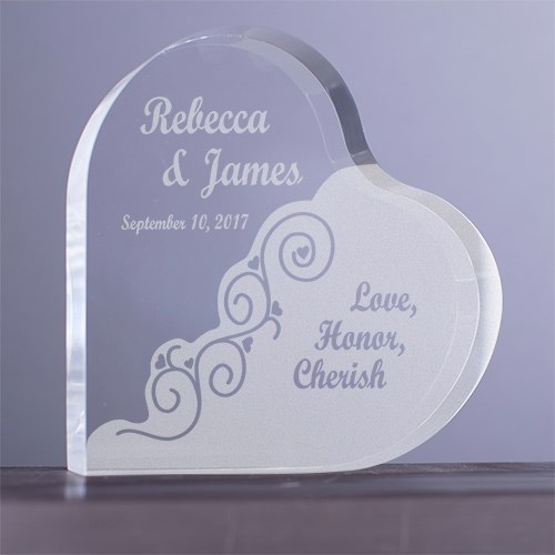 Engraved Love Honor Cherish Wedding Heart Keepsake