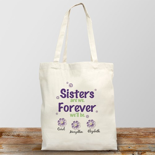 Sisters Forever Personalized Canvas Tote Bag