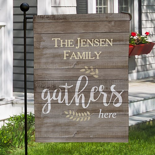 Personalized Family Gathers Here Garden Flag 830106092X
