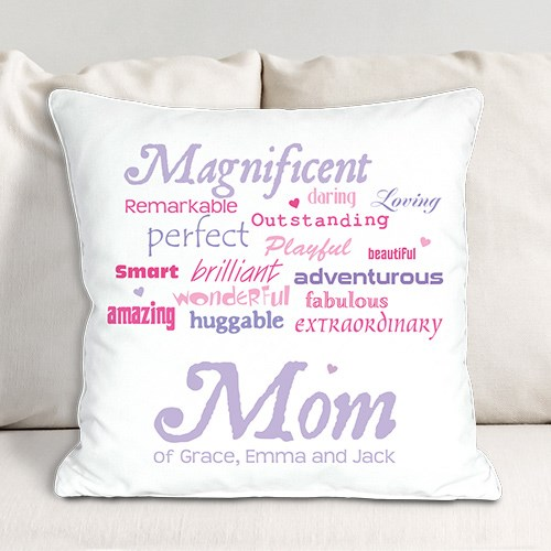 Personalized Magnificent Mom Throw Pillow | Mom Pillow