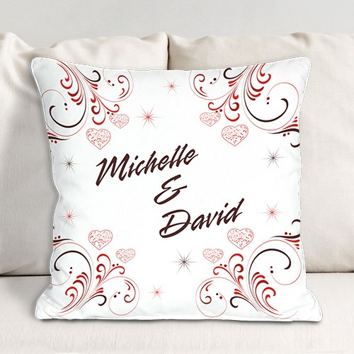 Personalized Valentines Day Throw Pillow for Couples