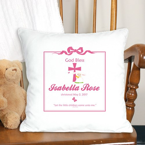 God Bless Christening Personalized Throw Pillow 83033553