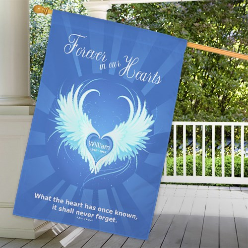 Personalized Forever In Our Hearts Memorial House Flag 83038412L