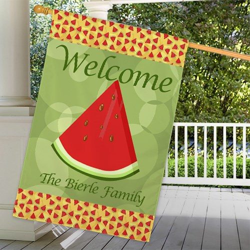 Personalized Watermelon House Flag 83039752L