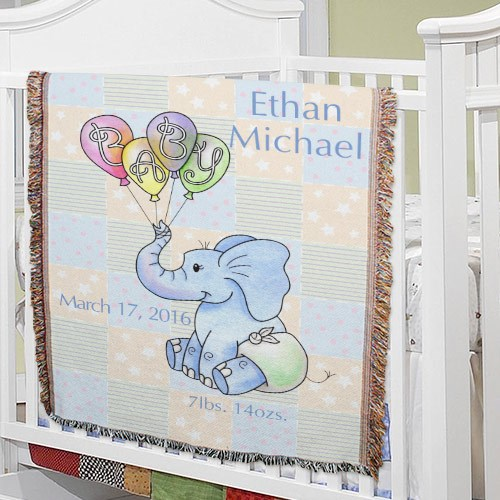 Personalized Baby Boy Elephant Tapestry Throw Blanket 83039845