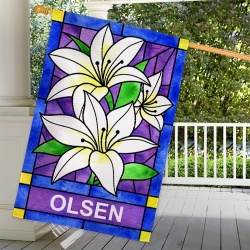 Personalized Lily Flowers Welcome House Flag 83055452L