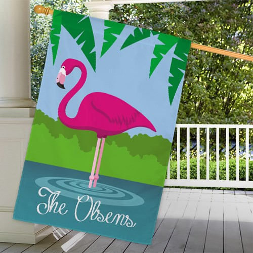 Personalized Pink Flamingo House Flag 83063222L