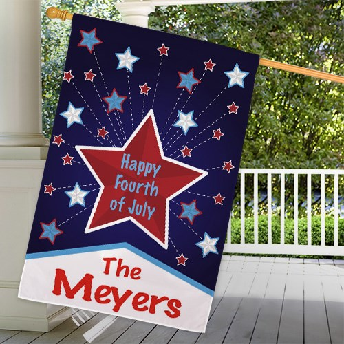 Personalized Happy 4th House Flag 83067822L