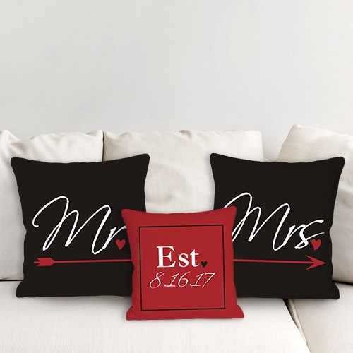 Personalized Newlywed Throw Pillow Set 83077943