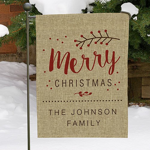 Merry Christmas Personalized Burlap Garden Flag 83097492B