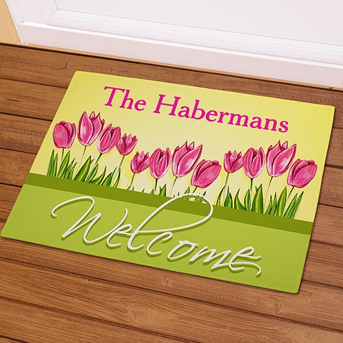 Personalized Tulips Welcome Doormat