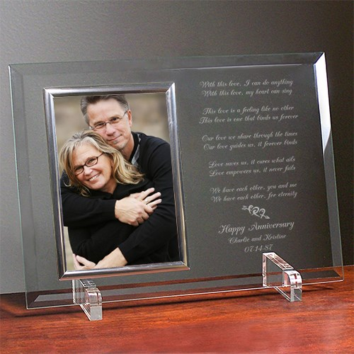 Love Is Magic Anniversary Personalized Beveled Glass Picture Frame