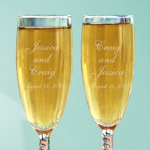 Personalized Wedding Couple Champagne Flutes